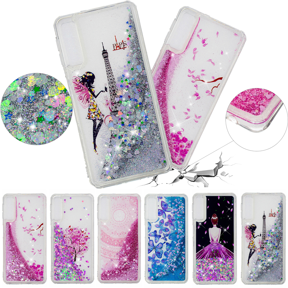 A50 Case on For Samsung Galaxy A10 A20 A30 Case Cartoon Tower Girl Glitter Liquid Phone Case for Samsung A70 Case Cover Coque image