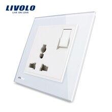 Livolo UK standard 1 банда 1Way кнопочный переключатель и 3 контакта многофункциональная 13A розетка, белая кристальная стеклянная панель, VL-W2Z1C-12