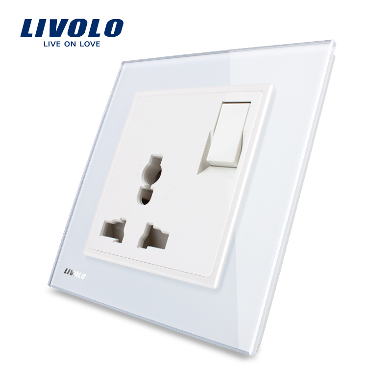Livolo UK Standard 1 Gang 1Way  Push Button Switch &3Pins Multifunction 13A Socket , White Crystal Glass Panel,VL-W2Z1C-12
