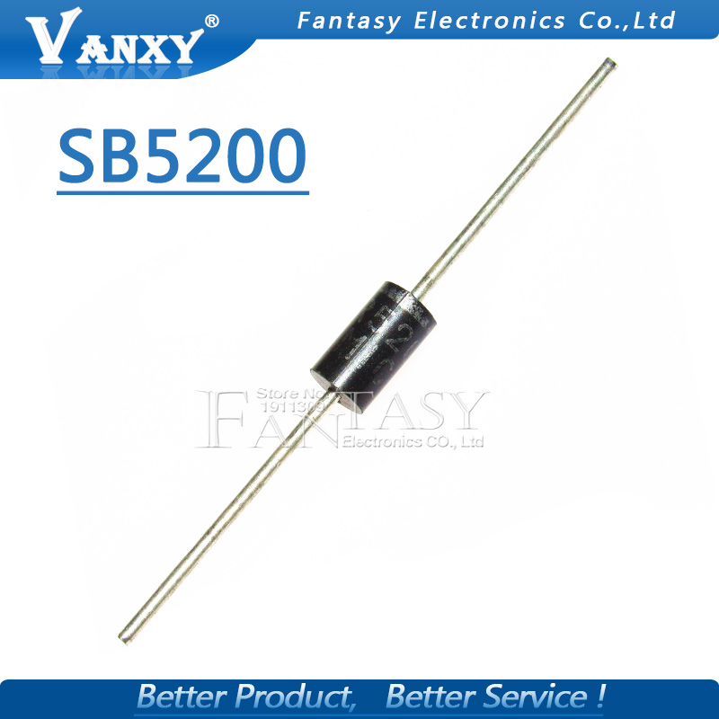 10PCS <font><b>SB5200</b></font> SR5200 Schottky Barrier Rectifier Diode 5A 200V DO-201AD/DO-27 image