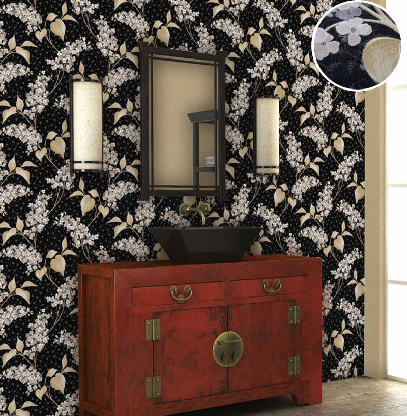 Heavy Vinyl British Style Italian Victorian Plant Floral Trail Wallpaper Roll Natural Flower Metallic Blooming Leaves Wall Paper 2015 new brand 5m roll victorian country style for floral flowers background wallpaper