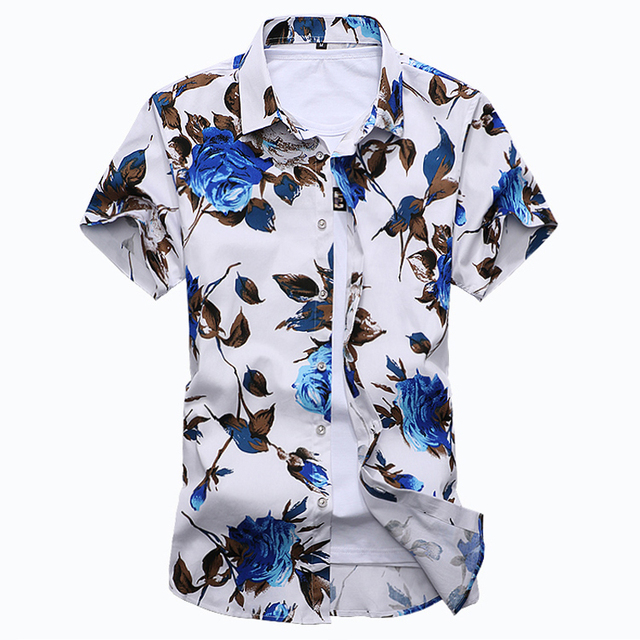 HCXY 2018 Summer Fashion Mens Shirt Slim Fit Short Sleeve Floral Shirt Mens Clothing Trend  Mens Casual Flower Shirts Size M-7XL 3
