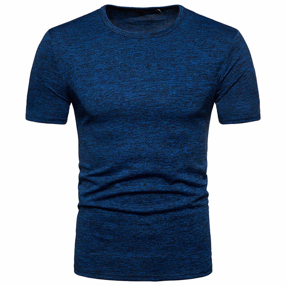 Мужские топы, футболки 2019 летние новые хлопковые футболки с круглым вырезом и коротким рукавом мужские модные тренды фитнес-футболки однотонные женские мужские футболки