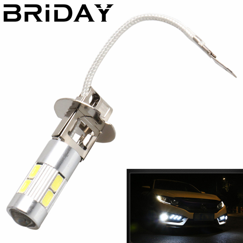 BRIDAY 2pcs H3 Car Fog Lights Led Bulb Lamp 5630 SMD Auto Leds bulbs Car Light Source parking DRL Headlight 12V high quality h3 led 20w led projector high power white car auto drl daytime running lights headlight fog lamp bulb dc12v