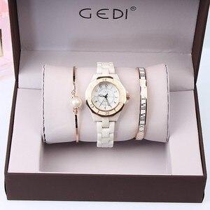 Image 3 - GEDI moda biała ceramika kobiety zegarki Top luksusowa marka panie zegarek kwarcowy 3 sztuk bransoletka zegarek Relogio Feminino Hodinky