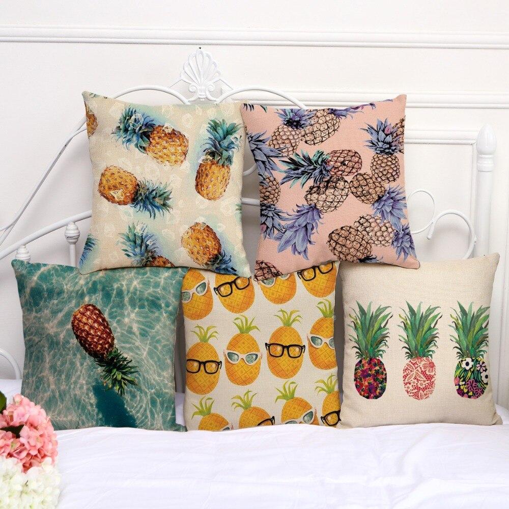 Square 18 cotton linen pineapple pineapple printed sofa for Insider design pillow