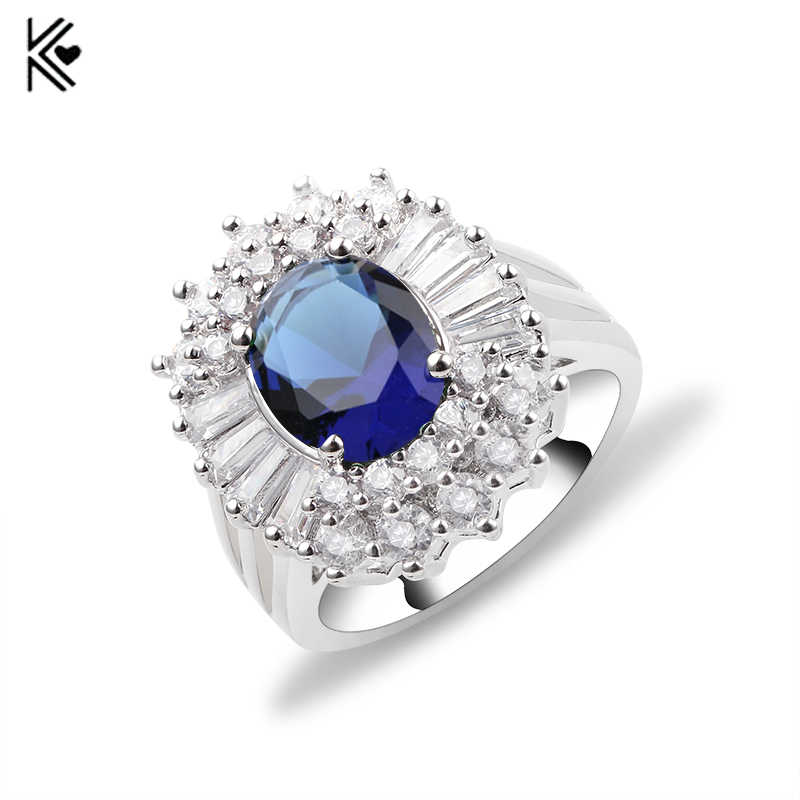 Elegant Big Blue Crystal White Gold Filled CZ Ring Unique Design Vintage Party Wedding Rings For Women Christmas Fashion Jewelry