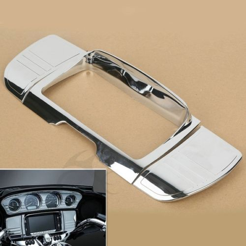 Tri Line Stereo Trim Cover for Harley Touring Electra Street Glide Ultra 2014-2018 chrome tri line gauge trim for harley touring electra street glide