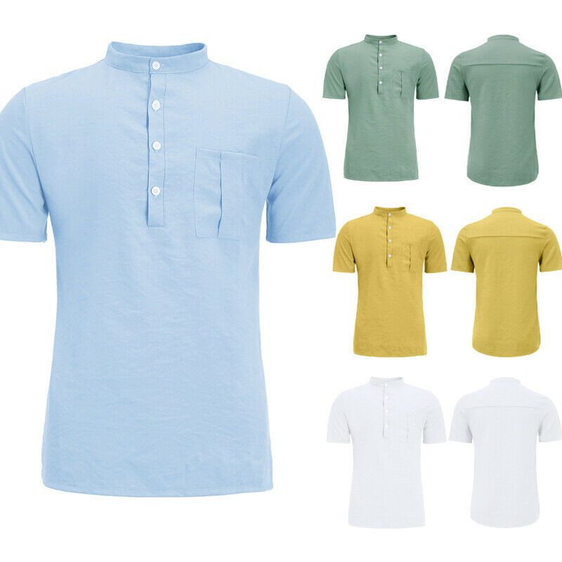 Mens Short Sleeve Summer Solid Shirts Casual Loose Soft  Linen Breathable Tops