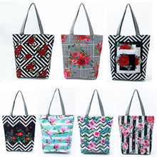 Canvas Tote Bags for Women Rose Printed Casual Shoulder Durable Handbags Reusable Cotton Shopping Bag