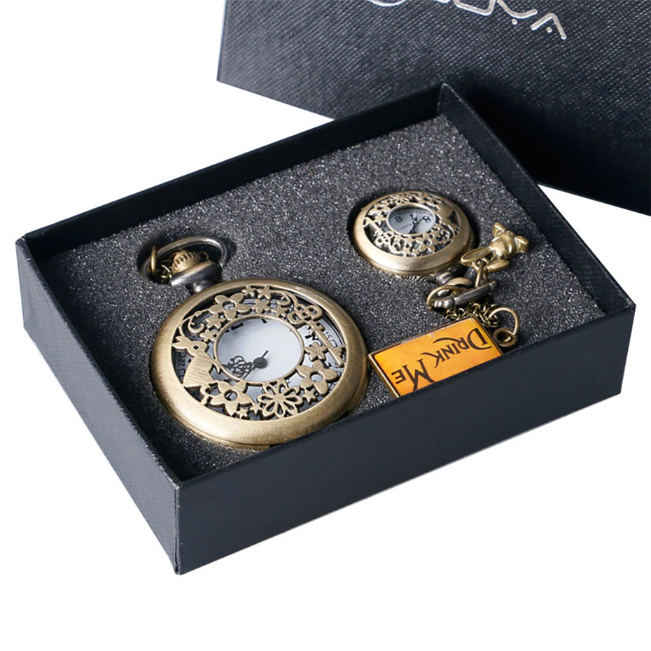 Hollow Bronze Alice In Wonderland Theme Quartz Pocket Watch Set With Retro Pocket Hanging Chain Top Gifts For Men Women