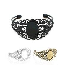 10pcs Vintage Black Blank Bazel Bangle Bracelet with 18*25mm Glass Cabochon DIY Bracelet Bangle