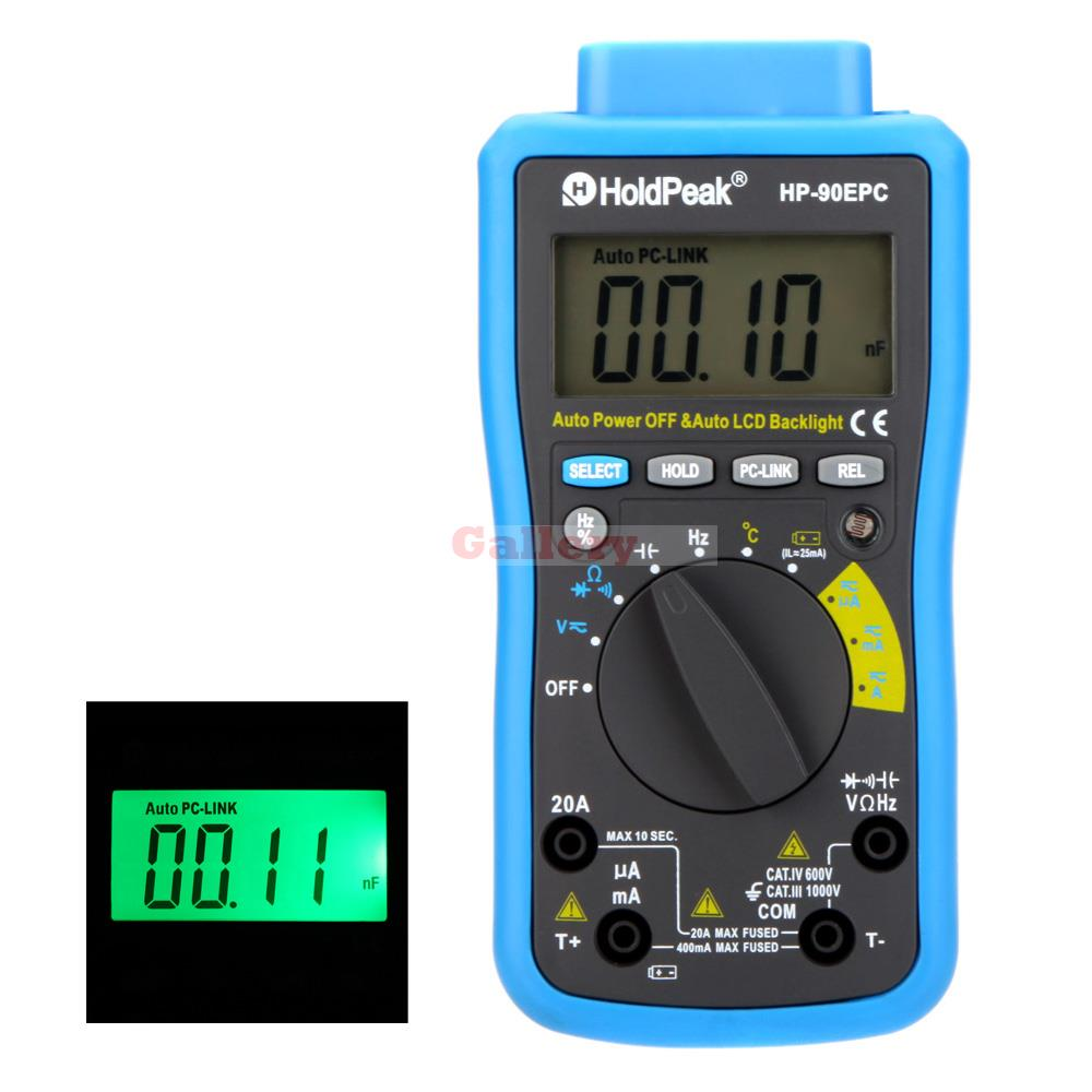 Holdpeak Hp-90epc Auto Range Digital Multimeter Dmm Cap Hz Temperature Meter Battery Tester W Usb Pc Link & Lcd Backlight mini multimeter holdpeak hp 36c ad dc manual range digital multimeter meter portable digital multimeter page 2