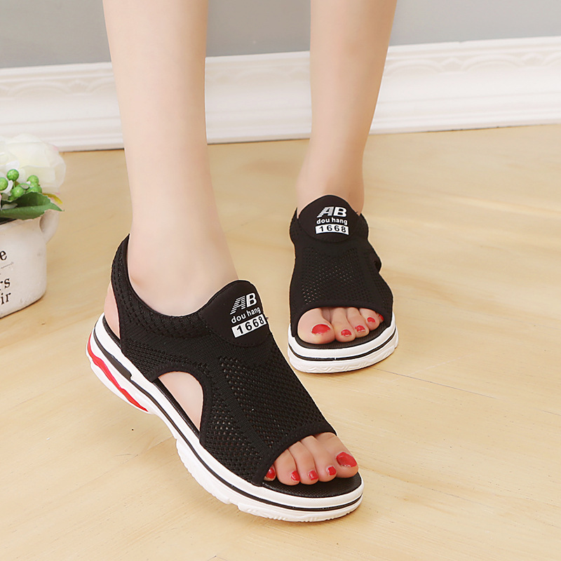 Women Summer Sandals Fashion Gladiator Sandals Woman Platform Shoes Luxury Brand Ladies Casual Air Mesh Low cut Slip on Shoes in Low Heels from Shoes