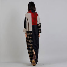 Johnature Women Maxi Dress Plaid Striped Robe 2018 Spring Vintage V-Neck Long Sleeve Plus Size Women Clothes Cotton Linen Dress