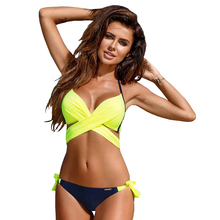 цена 2019 Sexy Bikini Women Swimsuit Push Up Swimwear Criss Cross Bandage Halter Bikini Set Beach Bathing Suit Swim Wear XXL онлайн в 2017 году