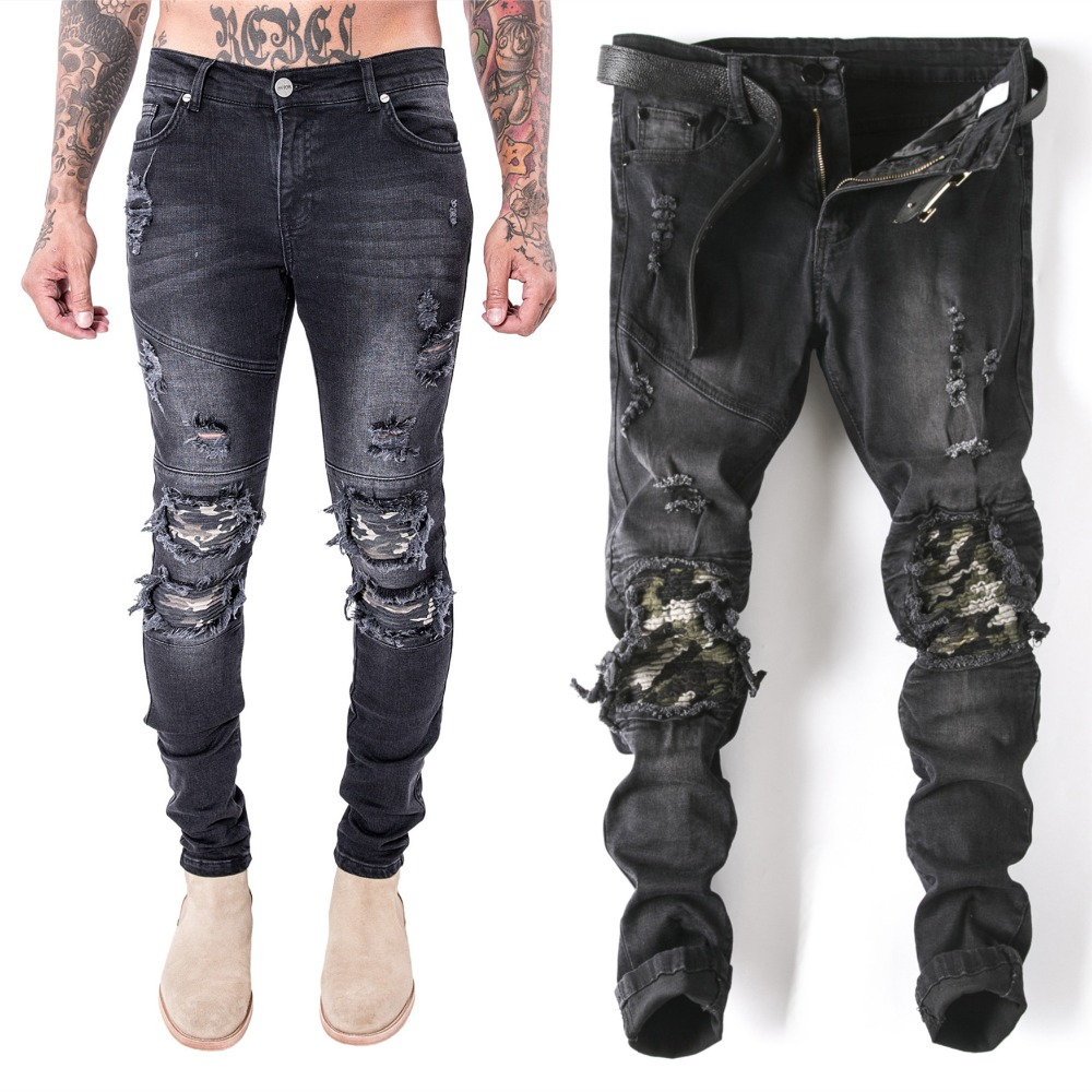 men Biker jeans ripped denim slim motorcycle pant men classic rap hip hop skinny casual winter stretch jeans men Comfortable 2017 skinny jeans men white ripped jeans for men fashion casual slim fit biker jeans hip hop denim pants motorcycle c141