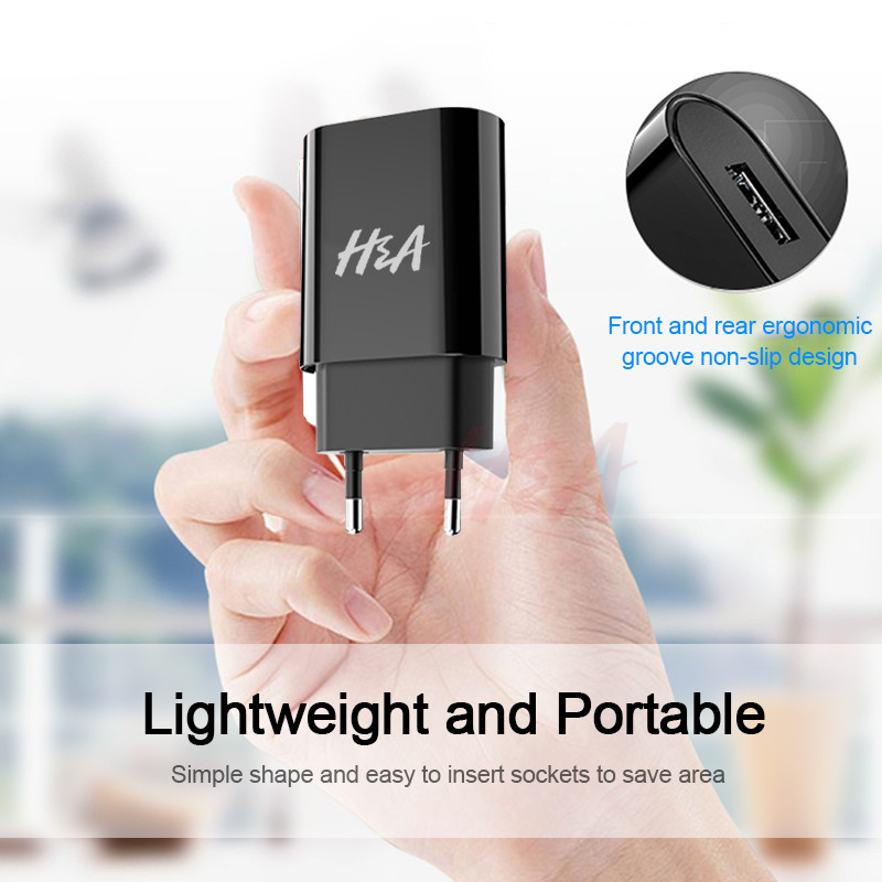 H&A Universal Portable USB Charger For iPhone EU Mobile Phone Charger Wall Adapter Travel Charger USB Cable For Samsung