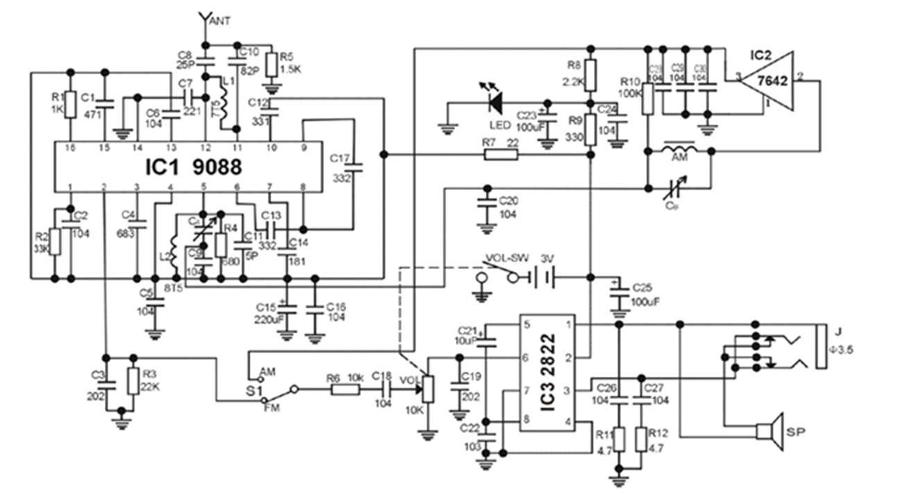 1pcs cfsunbird diy cf210sp fm stereo am radio kit electronic assembly kit for e learners [ 1300 x 709 Pixel ]