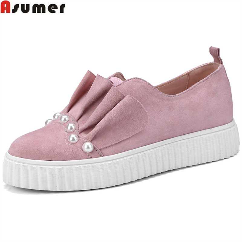 ASUMER 2018 fashion spring autumn flat shoes woman round toe casual comfortable women suede leather shoes ruffles flats asumer white spring autumn women shoes round toe ladies genuine leather flats shoes casual sneakers single shoes