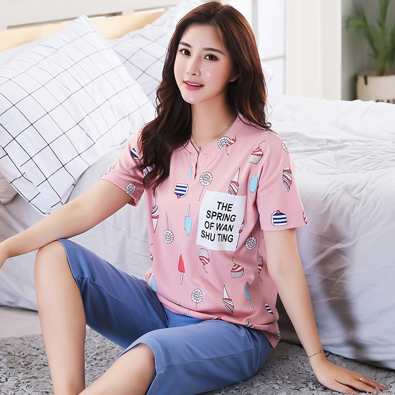 c9ecd9436a1e6 New Summer Women s Pajamas Cotton Cartoon Print Pajama Sets Girls Lace Sleepwear  Mujer Pyjamas Plus Size 3XL Casual Home Fashion