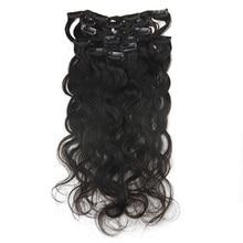 Полный блеск афро кудрявые человеческие волосы для наращивания на заколках машинное производство RemyClip для афро женщин натуральный черный цвет 7 шт. 100 г