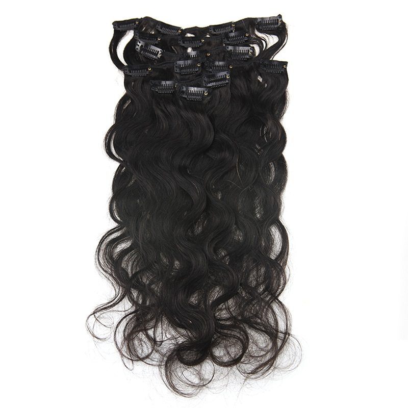 Full Shine Afro Curly Clip In Human Hair Extensions 100% Machine Made RemyClip For Afro Women Natural Black Color 7 Pcs 100 Gram