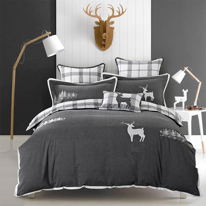 Хлопок серый постельных принадлежностей мягкое Постельное белье Вышивка олень Пингвин простыня набор пододеяльник Pillowcases40 4 шт.