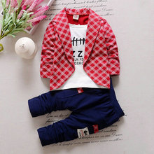 Hot 2PC Toddler Baby Boys Clothes Outfit Boy Kids Wedding Party Suits Outfits Sets Grid False 2 pieces Set Boy Style Children