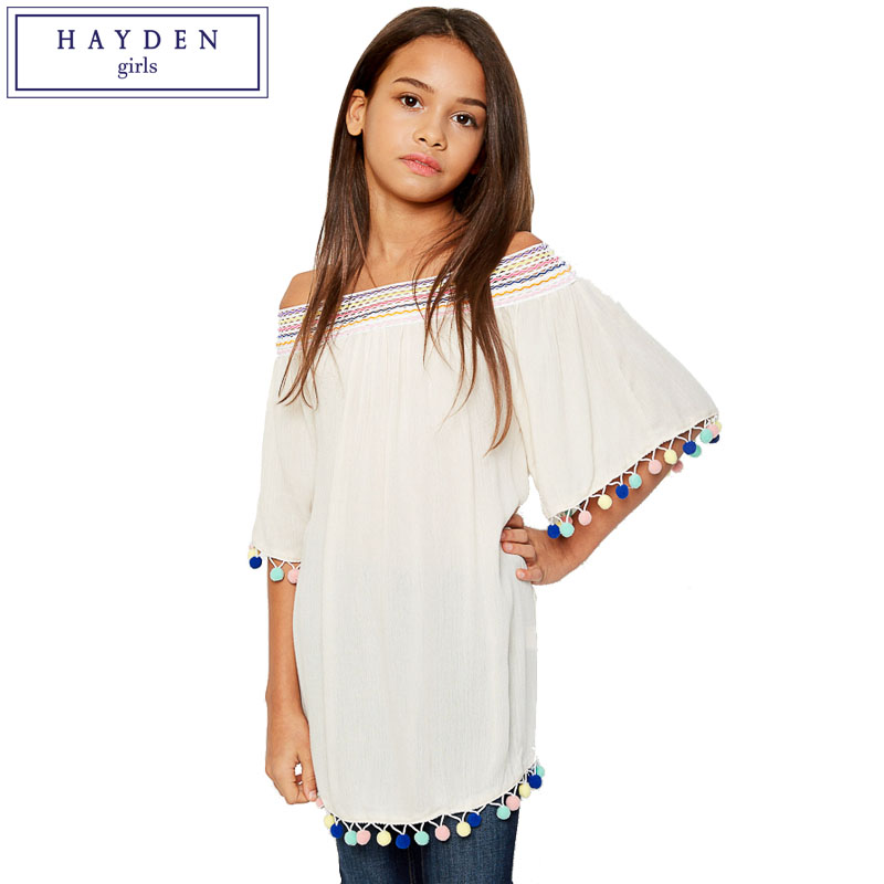 3485a48c55d HAYDEN Girls Off Shoulder Shirt Kids Pom Pom Tassel Top Teens Fashion Slash  Neck Half Sleeve Blouse Teenagers Clothes 7 to 14-in Blouses   Shirts from  ...