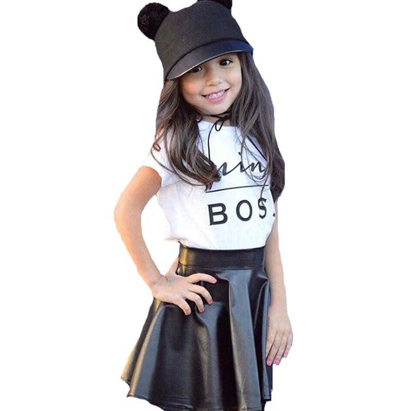 2pcs Toddler Girls Clothes Outfits 2017 Summer Short Sleeve Mini Boss T-shirt+Black Mini Leather Skirts Kids Girl Clothing Sets
