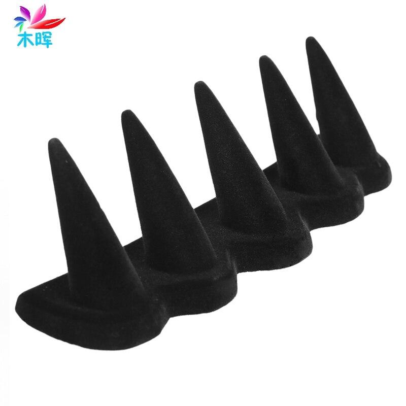 5 FingerJewelry Ring Display Stand Holder Showcase Organizer Black Velvet