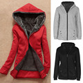 Large Plus size XXXL  Women Warm Winter Hooded Coat Jacket Overcoat Long Outwear Clothes Solid Thick Zipper Women basic coats
