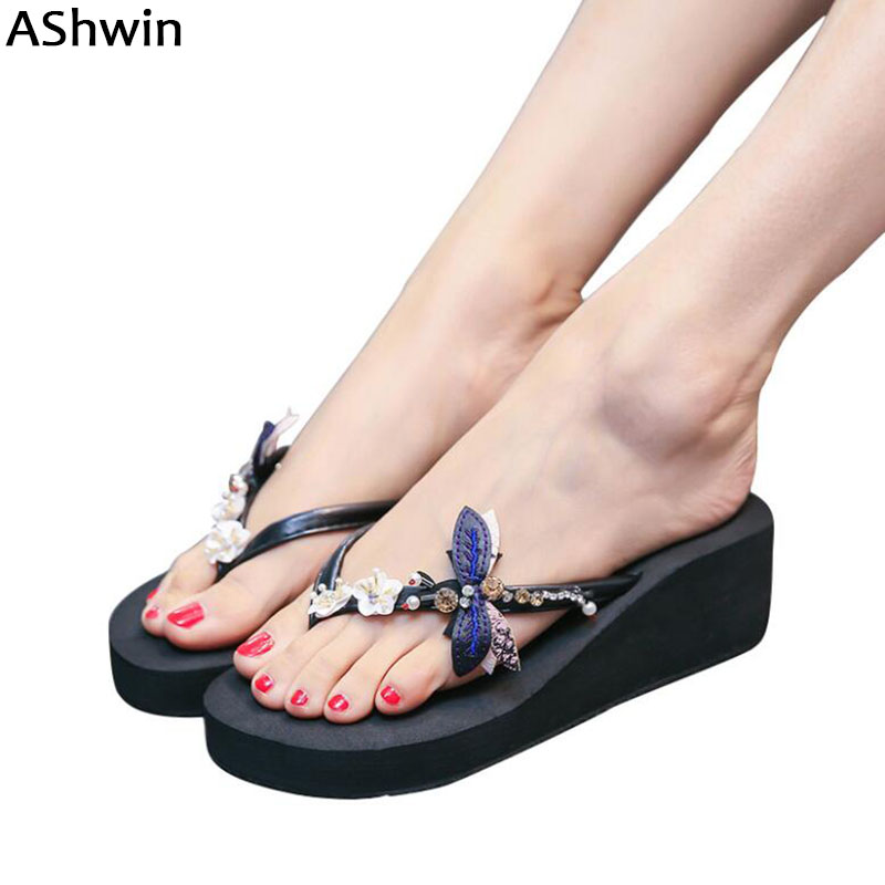 a085a064f88 AShwin sexy women sandals crystal flip flops flowers wedge slides sandal  shoes high heels jelly walking