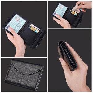 Image 4 - Laorentou Business Card Holder Genuine Leather Drivers license Case Holder Vintage Casual Clutch Card Position Purse for Men