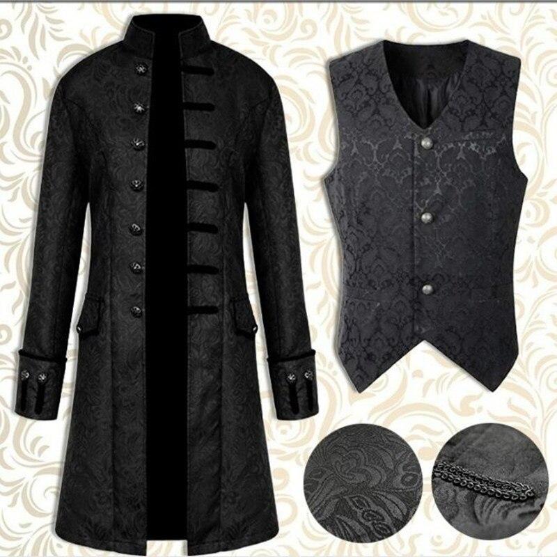 New Steampunk Men's Windbreakers Retro Trench Man Jacket Coat Gothic Victorian Dress Uniform Medieval Coat/Vest Opera Costume