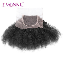 YVONNE Afro Curly Brazilian Virgin Hair Lace Closure 4×4 Free Part Human Hair Closure Natural Color Free Shipping