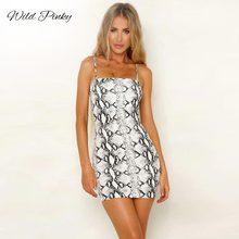 WildPinky Sexy Spaghetti Strap Dress Sleeveless Snake Print Short Mini Women 2019 New Knitting Summer Casual Vestido