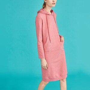 Image 3 - Toyouth Vestido largo de otoño para Mujer, Vestido de manga larga, algodón, color liso