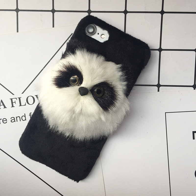 Tfshining Lovely Case Winter Plush Furry Case For iphone 7 8 Plus 6 6s X Cover Cute 3D Cat Hair Fur Accessory Phone Cases Coque  (3)