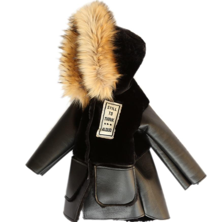 2019 Winter Childrens Faux Fur Coat Patchwork Fur PU Leather Jacket Baby Boys Girls Warm Fur Hooded Jacket Thicker Outwear Y442019 Winter Childrens Faux Fur Coat Patchwork Fur PU Leather Jacket Baby Boys Girls Warm Fur Hooded Jacket Thicker Outwear Y44