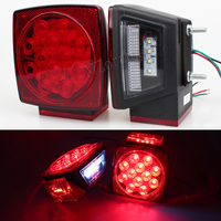 MZORANGE Car Truck Trailer Stop Brake Light Submersible Square Warning Light Lamp Side Marker LED Rear