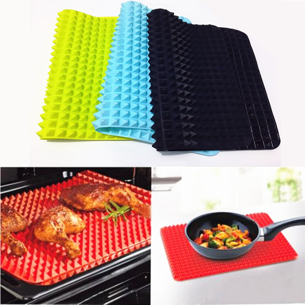 Leadmark LifeLiving .co 40x27cm Pyramid Bakeware Pan 4 color Nonstick Silicone Baking Mats Pads Moulds Cooking Mat Oven Baking Tray Sheet Kitchen Tools