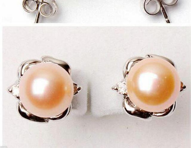 Women Jewelry Earring 10mm Bright Light Pink Round Pearl Stud Carved Flower Natural Freshwater