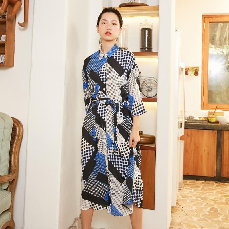 Seule Samstree Longue Pièce Robes Femme Femmes Manches D'une Blue Longues Casual Géométrique Ol Nn0wmv8