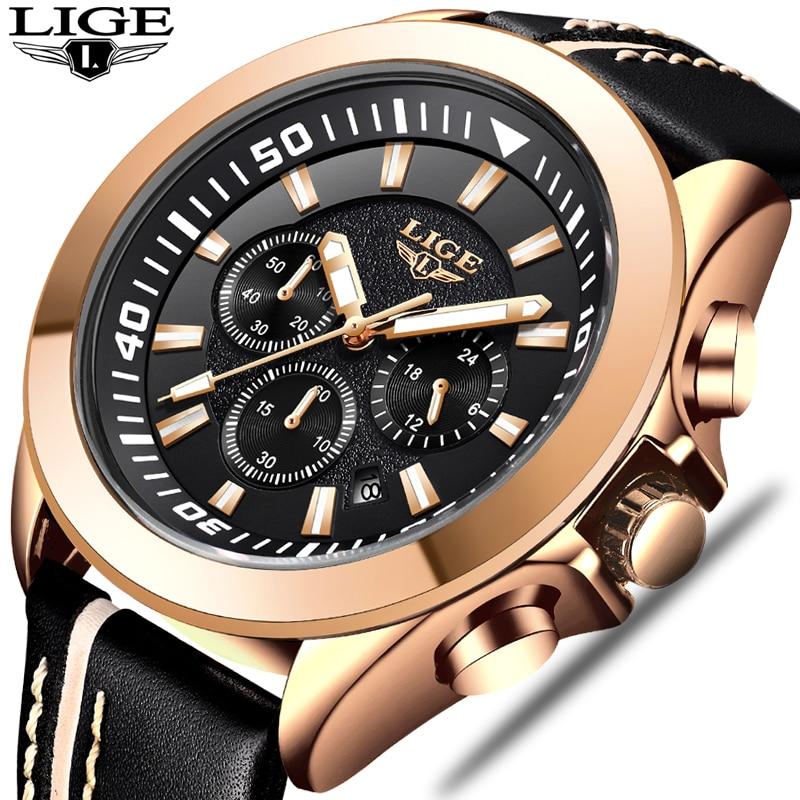 Mens Fashion Waterproof Leather Watch Mens Quartz Watch 2018 Mens Watches Top Brand Luxury Sport Watch Relogio Masculino+Box vietnam veteran leather mens watch