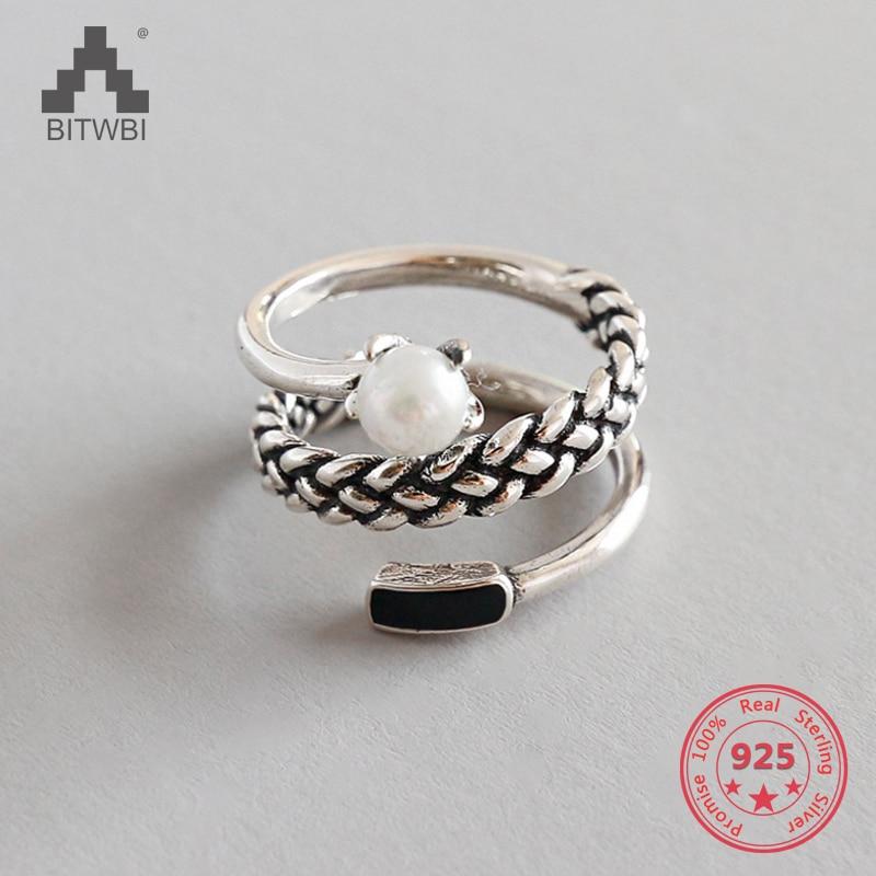 100% 925 Silber Ringe Einfache Drei Layered Twist Kreis Retro Perle Ring Für Frauen