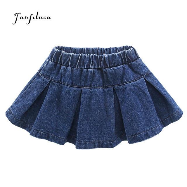 Fanfiluca Toddler Baby Girl Skirts Solid Skirt Denim Autumn Fashion Clothing For Girls Jean Skirt Girl Children Clothing