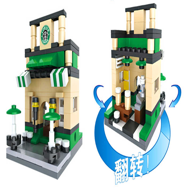 Hsanhe 3D Мини городской уличный розничный магазин McDonald кафе Apple магазин Строительные блоки Кирпич совместимый Legoe Technic Playmobil игрушки