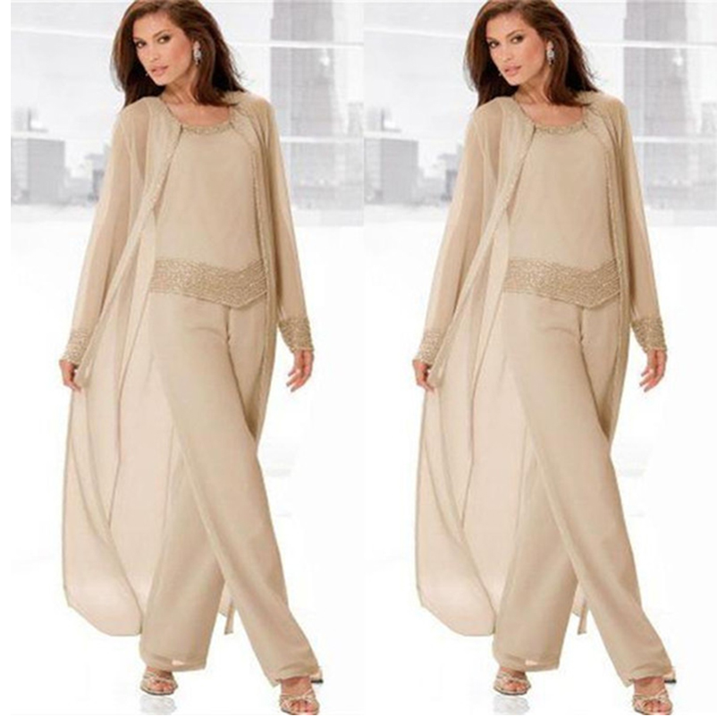 Gorgeous Champagne Mother Of The Bride Chiffon Pant Suits Long Sleeves Three Piece Plus Size Groom Mother Dress With Beaded 2018